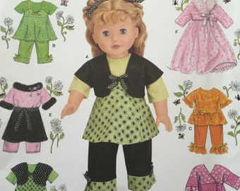 """Doll Fashions American Girl Clothing 18"""" Doll Clothes Sewing Pattern Simplicity 2458"""