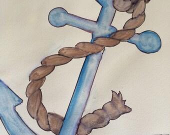 Nautical Anchor watercolour print
