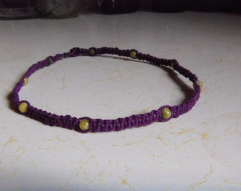 Purple Hemp Necklace w/ Yellow Turquoise
