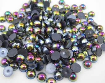 4mm Half Pearls, 4mm Black Half Pearls, Black Half Pearls, Black Flatbacks, Small Flatbacks, Small Black Flatbacks, Black Facets, Black AB