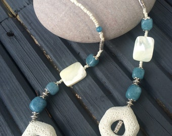 Lava stone blue and white necklace