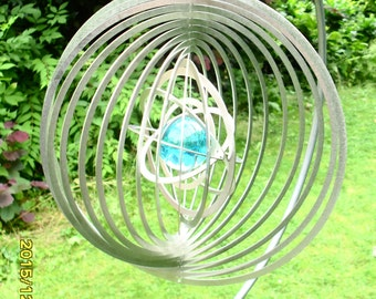 "3D stainless steel wind chimes ""World ball"" L with glass effect, 24 cm"