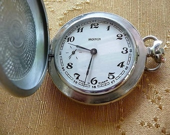 Pocket Watch -- Made in Russia  ....  Decorative Moinija Metal Pocket Watch -- Watch Repair , Craft