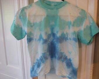Green + Blue tie dye shirt~Youth size 10-12