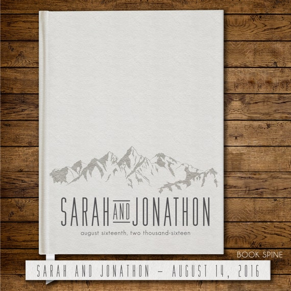 Wedding Guest Book Personalized Gold Guest Books Custom Guestbook Modern Wedding Mountain Theme Wedding