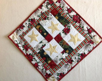 Quilted and Hand Appliqued Christmas Table Topper