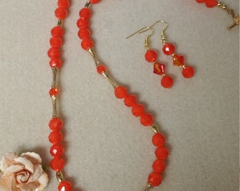 Bright orange Czech glass set