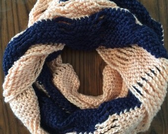 Crocheted Scarf, Neck Warmer, Navy & Peach