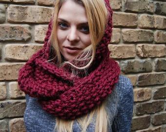 Oversized Infinity scarf - Chunky 100% Hand Made - Maroon - Ready to Ship