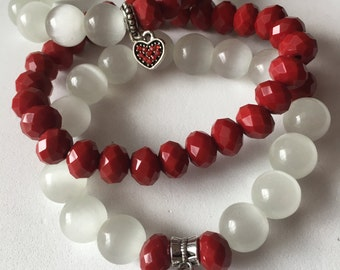 Red and white bracelets