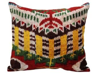 12x14 Velvet ikat pillow cover, Velvet cushion, Decorative Velvet Silk Pillow, Throw Velvet Pillow