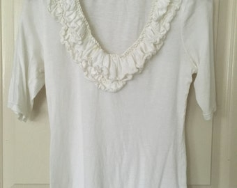 Women's white ruffle neck  top size small