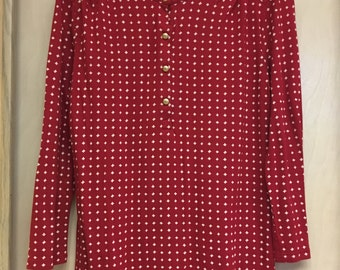 Women's red and white henley gold buttons size small