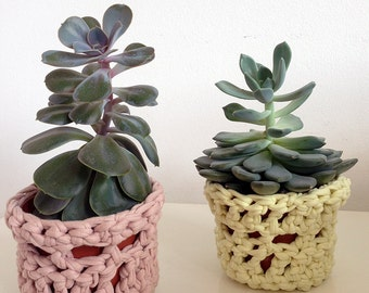 Crochet plant pot covers, indoor planter, succulent planter, gift for her, gardeners gift, plant lovers gift, cosy decor, blush pink