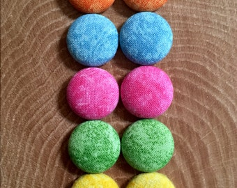 Color Wash: Handmade Fabric Button Earrings