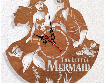 Wooden wall clock little Mermaid