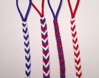 PATRIOTIC - binky clip, braided binky clip, braided leather binky clip, braided leather pacifier clip, braided leather, baby gift