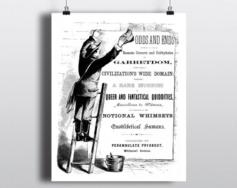 Vintage Advertising Illustration, Old Fashioned Black & White Newspaper Art Print, Oddity Poster, Fun Printable Wall Art, Instant Download