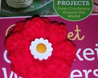 1 crochet flower hair clip red new