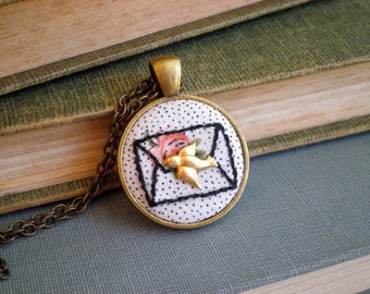 Love Letter Necklace - Envelope Outline Embroidery - Vintage Floral Fabric + Tiny Gold Bird Embroidered Mail Pendant - Jewelry Gift for Her