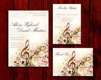 Sweet Music: Wedding Invitation Suite;     Print at Home Wedding Invitations