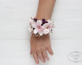 Wrist corsage Bridal flower accessories Flower bracelet Pink corsage Bridesmaids Corsage Flower corsage Wedding floral accessories
