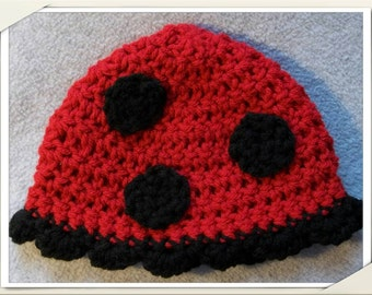 Ladybug Crocheted Beanie hat with antenna optional! (Baby/Child Sizes) Ruffled edging with lots of polka dots