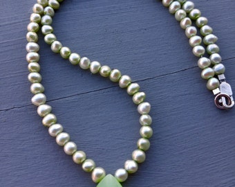 Freshwater Pearl Necklace in Natural Green, June Birthstone Jewelry