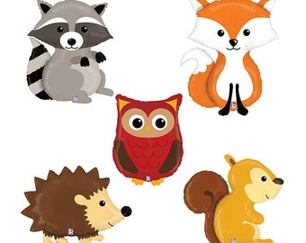 Woodland Critters Fox, Raccoon, Owl and Hedgehog Jumbo Balloon Mylar Set Party Decoration Birthday and Forest Themes