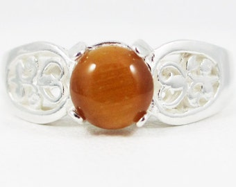 Tigers Eye Round Cabochon Filigree Ring Sterling Silver
