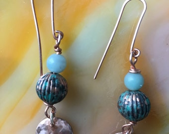 CalyKat African Queen Earrings with Amazonite Stone Beads and Hand Forged Copper Discs