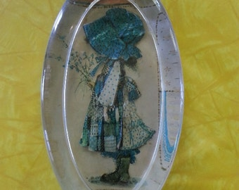 Holly Hobbie Vintage Glass Paper Weight