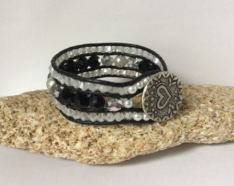 Leather Cuff Black Crystal Bracelet
