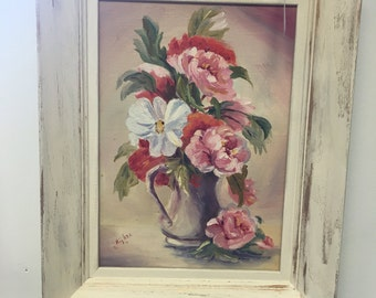 Vintage, floral, oil, painting