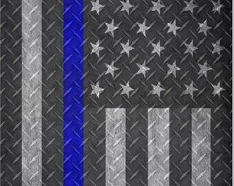 Police Line Flag Diamond Plate LAMINATED Cornhole Wrap Bag Toss Decal Baggo Skin Sticker Wraps