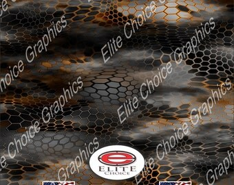 "Chameleon Hex 2 Orange 52""x6ft Wrap Vinyl Truck Camo Car SUV Tree Real Camouflage Sticker Decal"