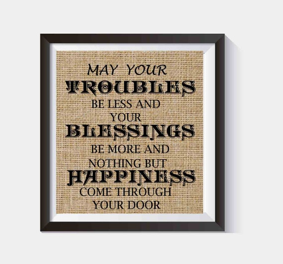 Irish Blessing House Warming Gift Burlap Print New Home