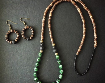 Coconut wood necklace, lava and glass beads