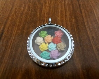 Rose Flower Floating Charms, 5mm x 3mm, Living Memory Locket Charms, Colorful Charms, Rose Charm, Flower Charm, Gift, Jewelry