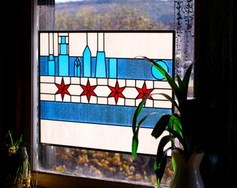 Chicago Flag and Skyline Stained Glass Window Panel