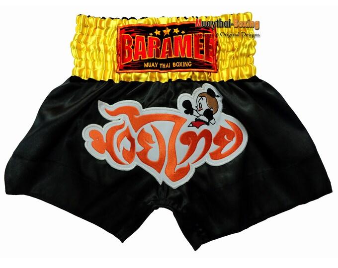 Kids Muay Thai Boxing Shorts Martial Arts - Black