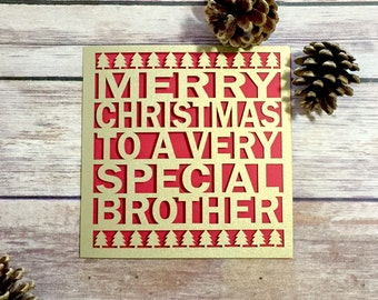 Brother Christmas Card, Papercut Christmas Card, Christmas Card Brother, Brother Christmas Gift, Special Brother, Merry Christmas Brother