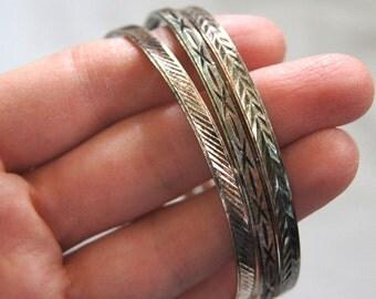 3 Delicate Silver Bracelets