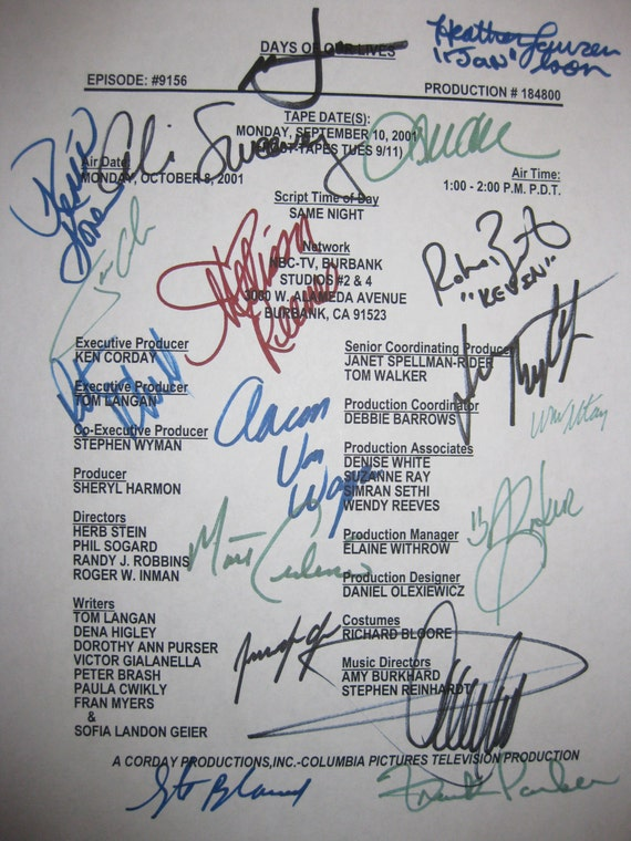 Days Of Our Lives Cast Signed TV Script Screenplay Soap Opera autographs cast signatures