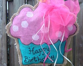 Handmade Jute Door hanger Cupcake