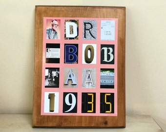 AA Founder Dr Bob: Collage on Solid Wood Plaque