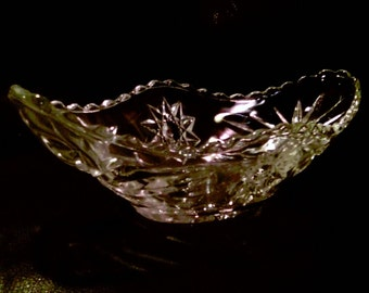 beautiful vintage CUT GLASS CONDIMENT boat bowl candy nuts collectible