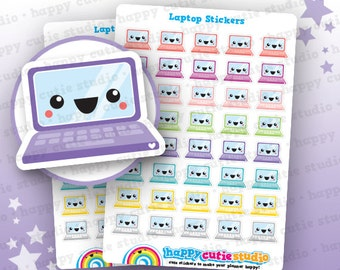 40 Cute Laptop/Computer Planner Stickers, Filofax, Erin Condren, Happy Planner, Kawaii, Cute Sticker, UK