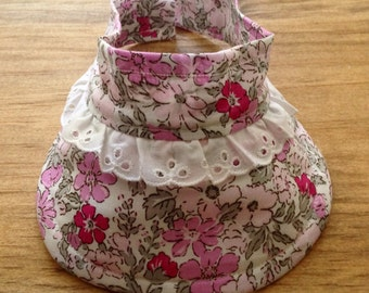 LARGE size Baby/Toddler Visor - Pink Flowers - for Cochlear Implants & Hearing Aids