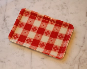 Vintage Red Gingham Mache Ware Small Tray